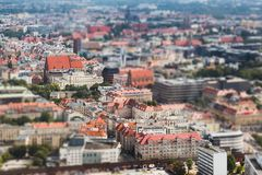 Panorama of the old town, Wroclaw, tilt-shift effect. Panorama of the old town, Wroclaw, tilt shift effect royalty free stock photography