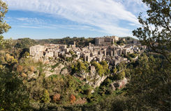 Panorama of old tuff town Sorano. Tuscany. Italy Royalty Free Stock Images