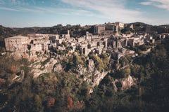 Panorama of old tuff town Sorano. Tuscany. Italy Stock Photography