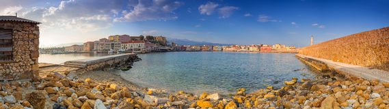 Panorama of the old Venetian harbour in Chania Royalty Free Stock Images