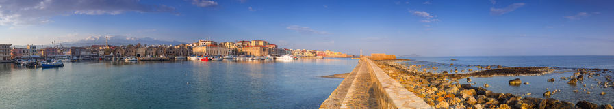 Panorama of the old Venetian harbour in Chania Stock Photo