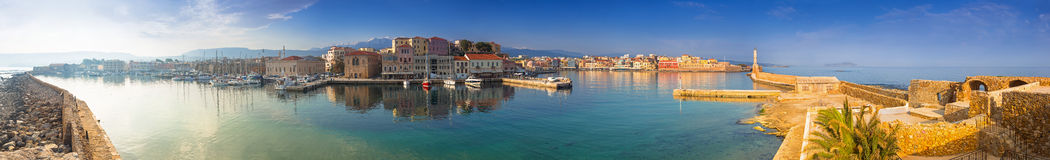 Panorama of the old Venetian harbour in Chania Stock Photos