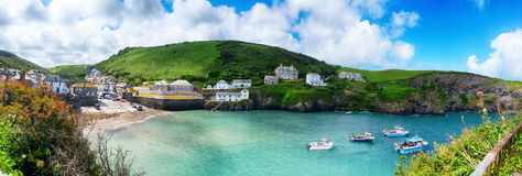 Panorama of old village Port Isaac Royalty Free Stock Photo