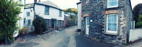 Panorama of old village Port Isaac, Cornwall Royalty Free Stock Photo