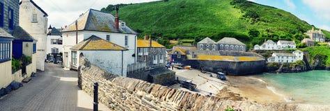 Panorama of old village Port Isaac, Cornwall Royalty Free Stock Photos