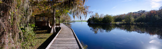 Panorama of an old wharf on a freshwater lake, Florida Stock Photos