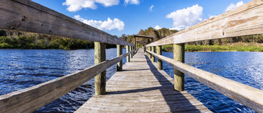Panorama of an old wharf on a freshwater lake, Florida. Lake Istokpoga, Highlands County, central Florida stock photo