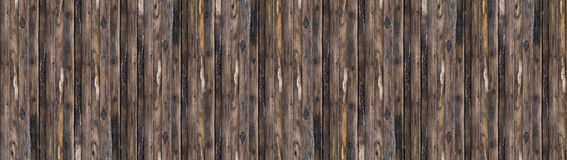 Panorama old grey wood board brown with patina tree vertical lines stock photo