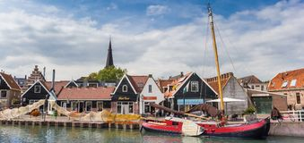 Panorama of an old wooden sailing ship in Monnickendam Royalty Free Stock Images