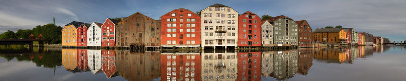 Panorama of the old wooden storehouses Royalty Free Stock Photos