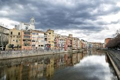 Panorama of olds buildings on the riverbank in Girona, Catalonia, Spain royalty free stock images