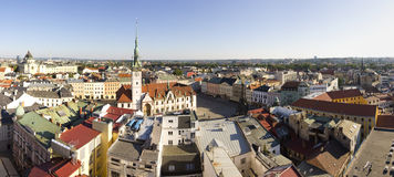Panorama of Olomouc city's Upper square and the Astronomical clock on Olomouc Town Hall Stock Photography