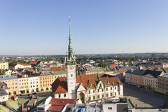 Panorama of Olomouc city's Upper square and the Astronomical clock on Olomouc Town Hall Stock Photo
