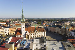 Panorama of Olomouc city's Upper square and the Astronomical clock on Olomouc Town Hall Stock Photos