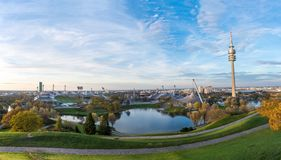 Panorama of Olympiapark in Munich, Germany with beautiful light Royalty Free Stock Photography