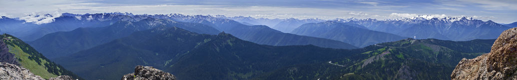Panorama Olympic National Park Mountains Washington state USA. Wide panorama of the Olympic Mountain range looking south from the summit of Mount Angeles in Stock Image