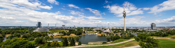 Panorama of Olympic Park Munich. With Olympic Stadium and Olympic Tower Stock Photos