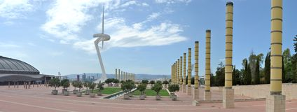 Panorama of the Olympic site of barcelona. Close to the stadium with the Montjuïc Communications Tower Royalty Free Stock Photography