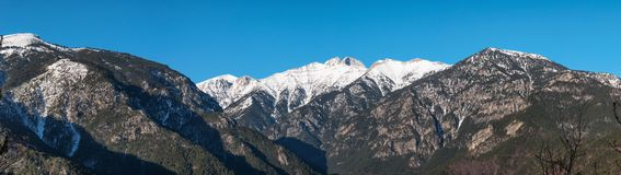 Panorama of Olympus mountain in Greece Royalty Free Stock Image