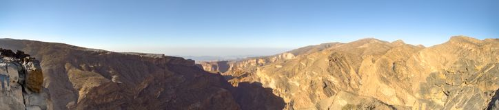 Panorama Oman Mountains at Jabal Akhdar in Al Hajar Mountains royalty free stock photos