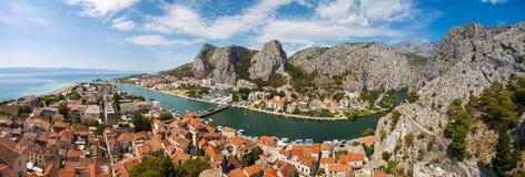 Panorama of Omis town in Croatia Royalty Free Stock Image