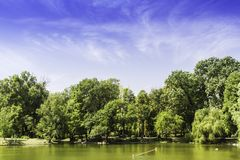 Panorama with one of the largest parks in Bucharest Stock Images