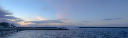 Panorama Onego jezioro w wiośnie przy zmierzchem Obraz Royalty Free