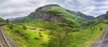 Panorama op Aard van Noorwegen van de passagierstrein Flom, Noorwegen Stock Foto