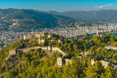 Panorama op Alanya-stad Stock Afbeelding