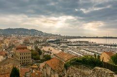 Panorama op Cannes stock afbeelding