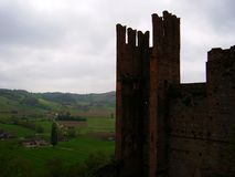 Panorama op Castell'arquato, Piacenza, Italië stock afbeelding