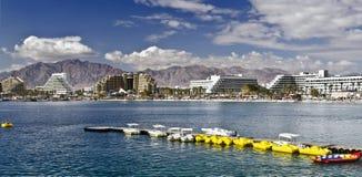 Panorama op de Aqaba golf, Eilat, Israël stock foto