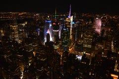 Panorama op de Stad van New York van het 's nachts Empire State Building stock fotografie