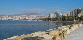 Panorama op Eilat van het centrale strand Stock Afbeelding