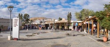 Panorama op giftopslag bij hoofdingang aan het Petra archeologische park stock foto's