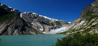 Panorama op gletsjer Nigardsbreen. Noorwegen Royalty-vrije Stock Afbeeldingen