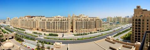 Panorama op het kunstmatige eiland van de Palm Jumeirah Stock Afbeelding