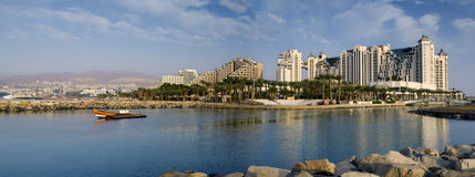 Panorama op jachthaven in Eilat, Israël Royalty-vrije Stock Foto