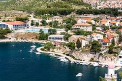 Panorama op mediterrane stad Stock Foto's
