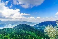 Panorama op meer Tegernsee in Beieren - Duitsland royalty-vrije stock foto