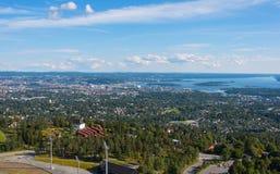 Panorama op Oslo van de binnenstad Noorwegen stock fotografie