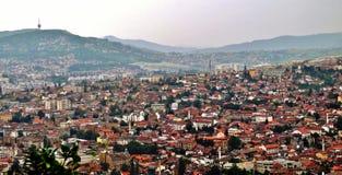 Panorama op Sarajevo Royalty-vrije Stock Foto's