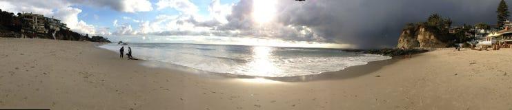Panorama op strand Stock Afbeeldingen