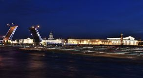 Panorama on the open bridge and market square. Night St. Petersburg / Panorama on the open bridge and market square Royalty Free Stock Image
