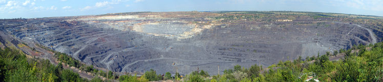 Panorama of an open-cast mine Stock Photography