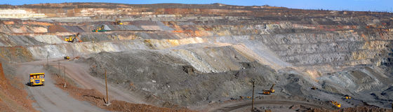 Panorama of an open-cast mine Royalty Free Stock Image