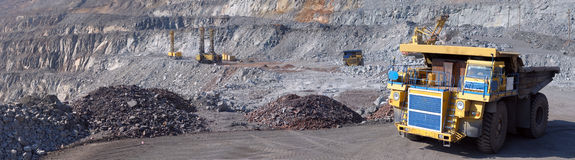 Panorama of an open-cast mine Royalty Free Stock Photography