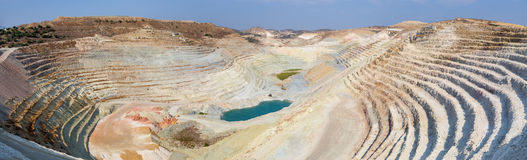 Panorama of an open quarry Stock Photo