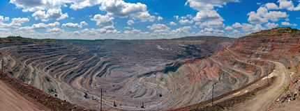 Panorama of opencast mine. Panorama of quarry extracting iron ore with heavy trucks,excavators,diggers and locomotives Royalty Free Stock Images
