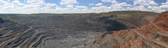 Panorama of opencast mine. Panorama of quarry extracting iron ore with heavy trucks,excavators,diggers and locomotives Royalty Free Stock Photography